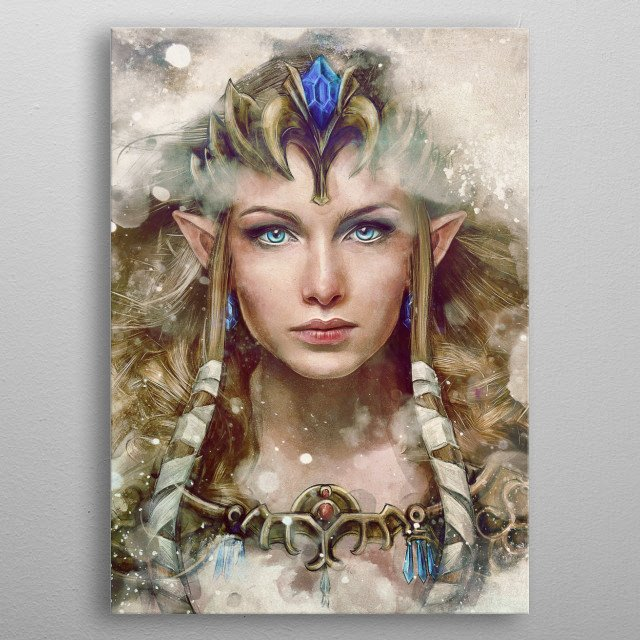 The portrait version of my realistic painting of my version of Princess Zelda inspired from Legend of Zelda gaming series. metal poster