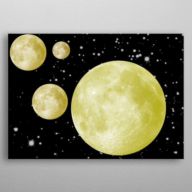 a fantasy image of multiple moons in a black sparkly sky metal poster