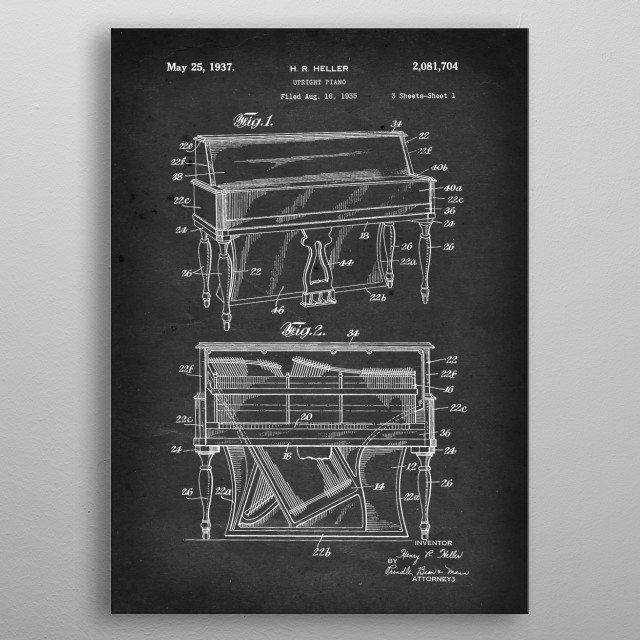 Upright Piano - Patent by H. R. Heller - 1937 metal poster