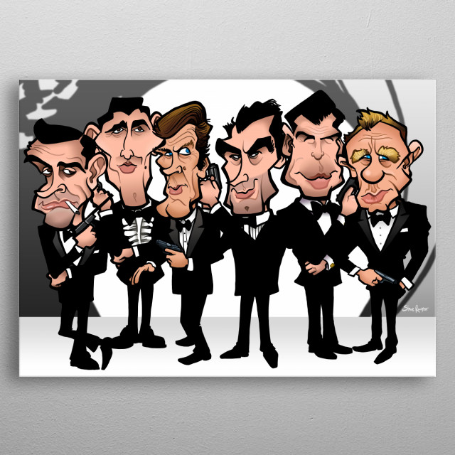 Faces of Bond metal poster