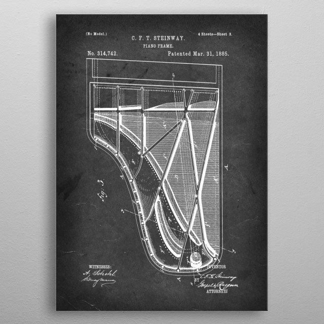Piano Frame - Patent by C. F. T. Steinway - 1885 metal poster