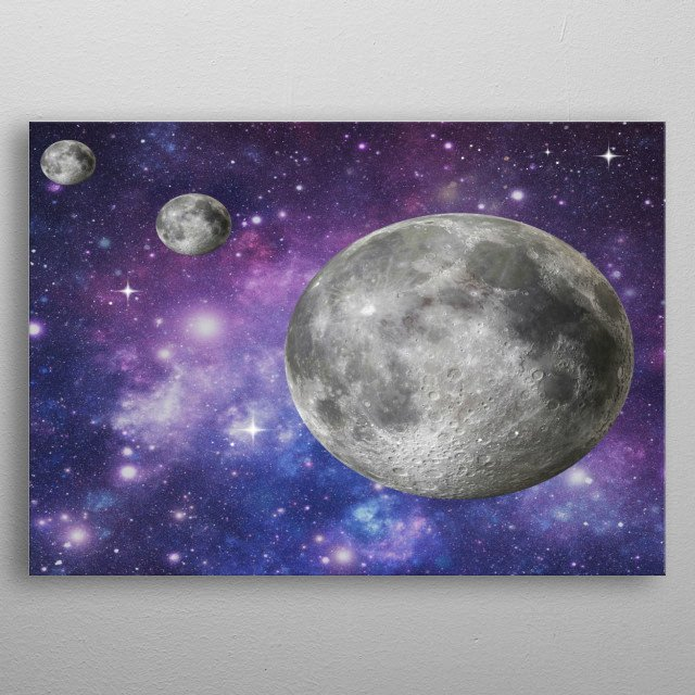 a fantasy image of the moon and stars and orbs  metal poster