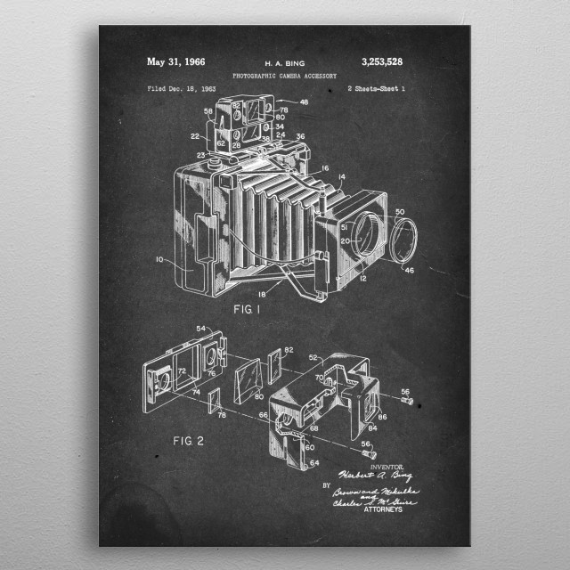 Photographic Camera Accessory - Patent by H. A. Bing - 1966 metal poster