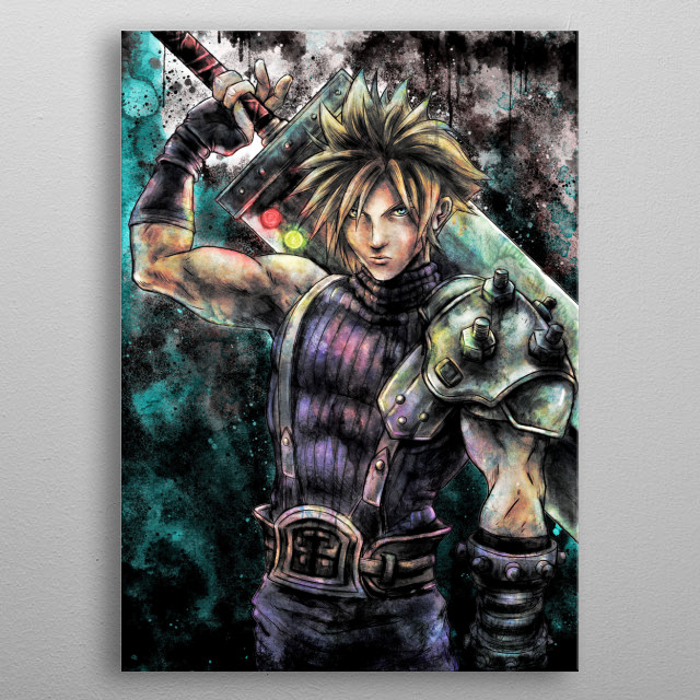 This is a Kolabs Studios artwork by J.P. Perez and Barrett Biggers of a painting portrait of Cloud Strife inspired by the Final Fantasy VII g... metal poster