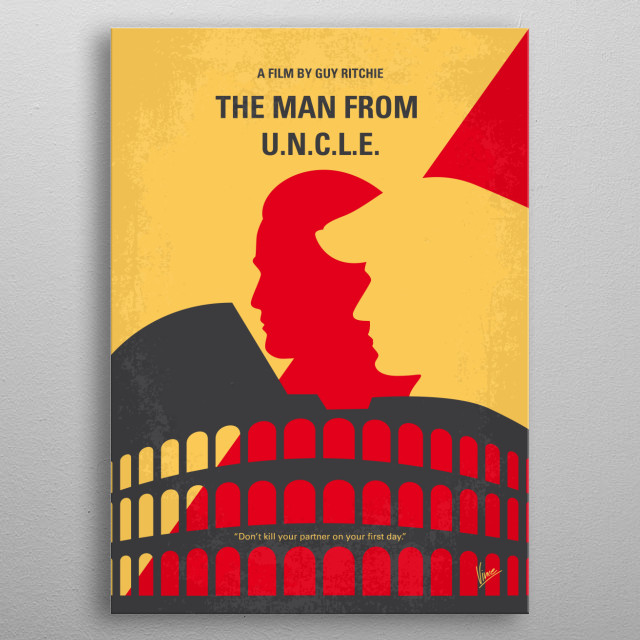 No572 My Man from UNCLE minimal movie poster  In the early 1960s, CIA agent Napoleon Solo and KGB operative Illya Kuryakin participate in a j... metal poster
