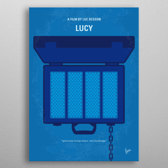 No574 My Lucy minimal movie poster A woman, accidentally caught in a dark deal, turns the tables on her captors and transforms into a merciless warrior evolved beyond human logic. Director: Luc Besson Stars: Scarlett Johansson, Morgan Freeman, Min-sik Choi metal poster