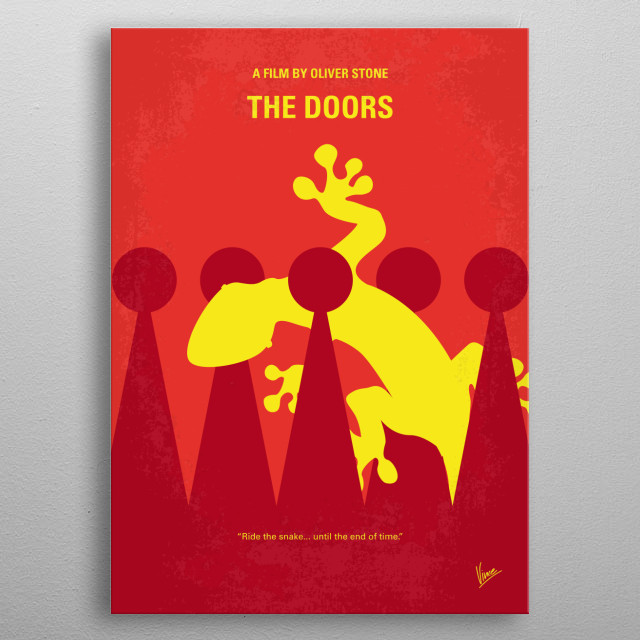 No573 My THE DOORS minimal movie poster  The story of the famous and influential 1960s rock band and its lead singer and composer, Jim Morrison, from his days as a UCLA film student in Los Angeles, to his untimely death in Paris, France at age 27 in 1971.  Director: Oliver Stone Stars: Val Kilmer, Meg Ryan, Kyle MacLachlan   metal poster