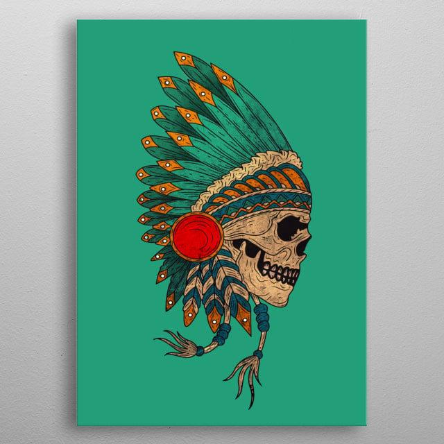 Indian skull metal poster