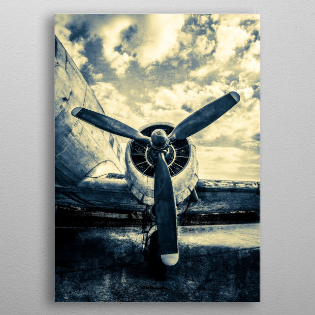 A propeller, piston engine, wing of a vintage aircraft. Shining sky. A good gift for the brave pilot, aviator veteran, aviation lover. metal poster