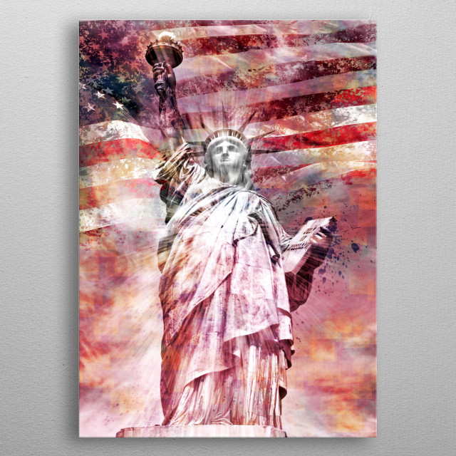 The Statue of Liberty - the famous New York City landmark. Here displayed in a red colored impression with the American national flag. metal poster