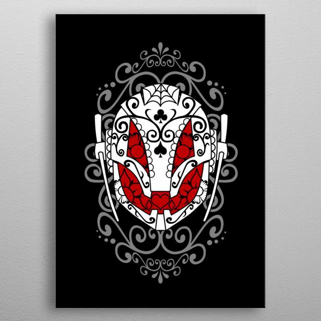 Comic character inspired sugar skull. metal poster