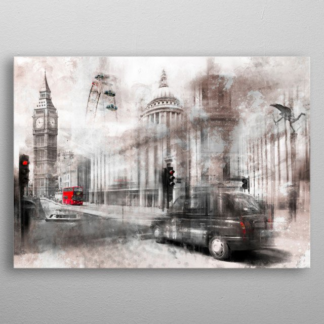 A modern and decorative London collage with famous sights and places.  metal poster
