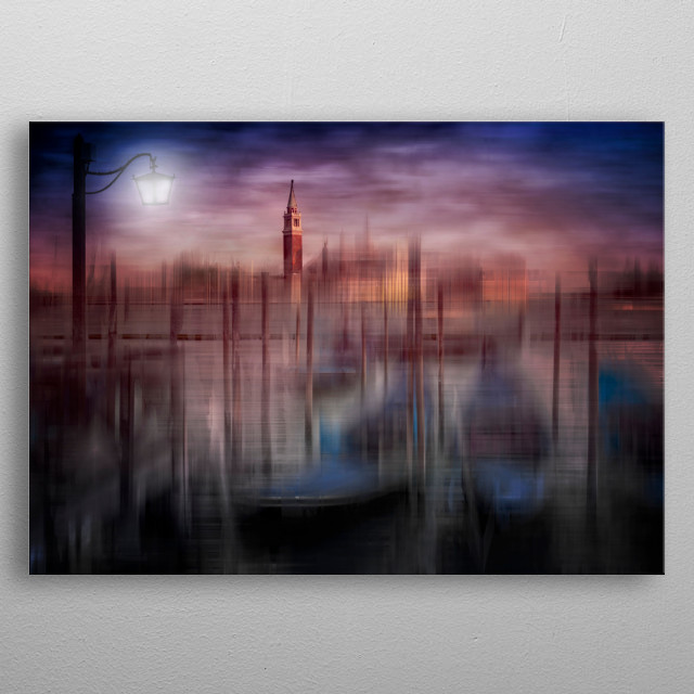 Decorative image of Venice with San Giorgio Maggiore island. Enjoy picturesquely active passages, modern colour accents and graphic nuances. metal poster