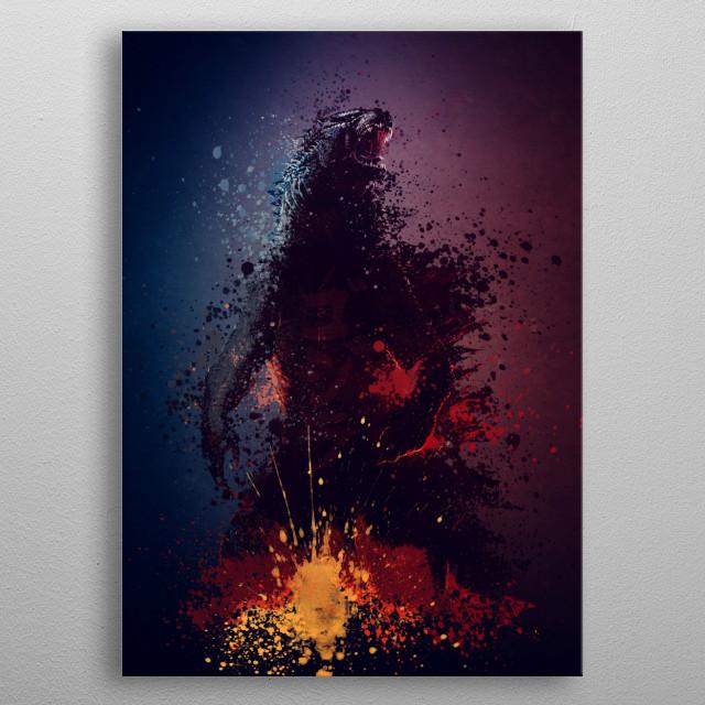 Godzilla splatter artwork. metal poster