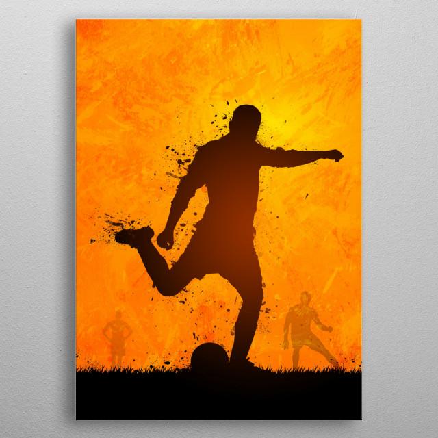 01 Soccer player shoot metal poster