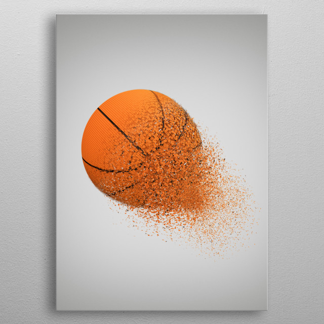 Exploding Basketball  metal poster
