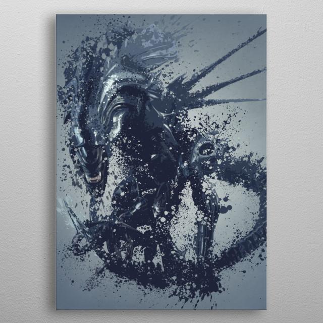 Alien queen. Splatter effect artwork inspired by the aliens universe, 4 of 5. metal poster