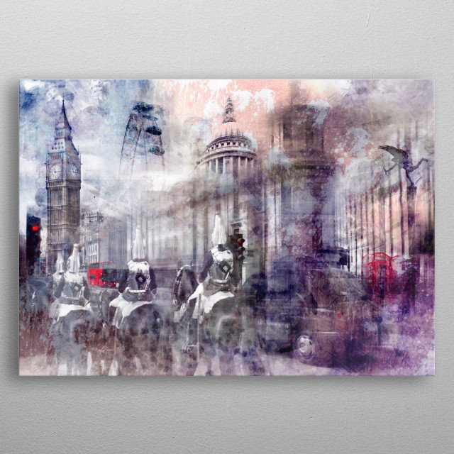 Decorative London collage with famous sights and places. Discover Big Ben, the giant wheel, St. Pauls Cathedral, a red bus and more. metal poster