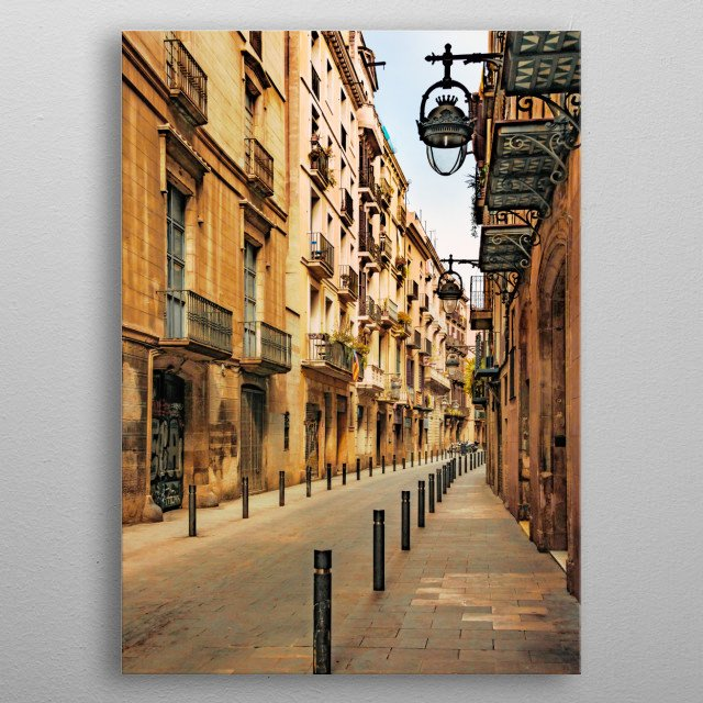Gothic Quarter, Barcelona The Gothic Quarter is the centre of the old city of Barcelona. It stretches from La Rambla to Via Laietana, and from the Mediterranean seafront to Ronda de Sant Pere. It is a part of Ciutat Vella district metal poster