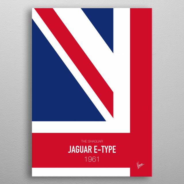 No007 My AUSTIN POWERS minimal movie car poster — Jaguar E-Type 1961 The Shaguar metal poster