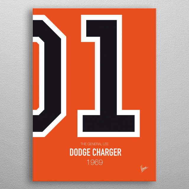 No001 My The Dukes of Hazard minimal movie car poster -  Dodge Charger 1969 The General Lee metal poster