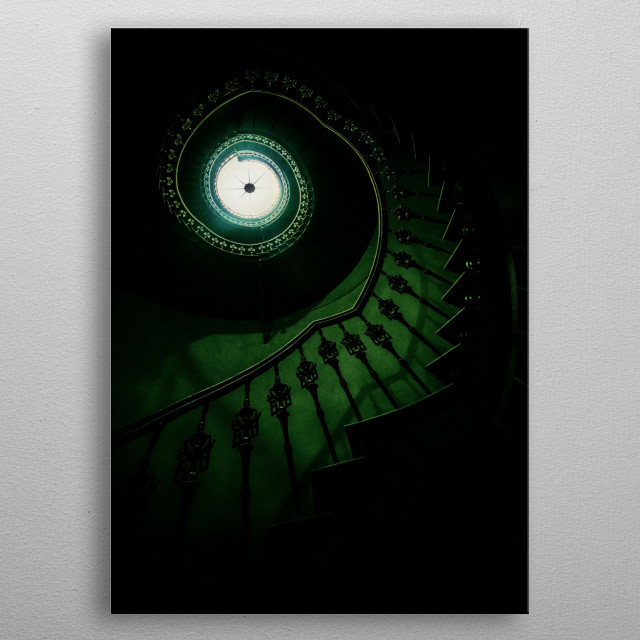 Spiral staircase in green metal poster