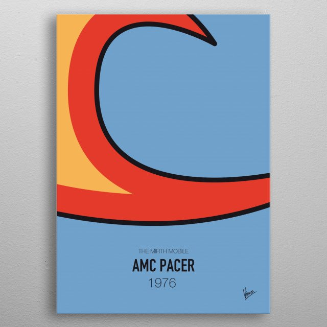 No010 My WAYNES WORLD minimal movie car poster — AMC Pacer 1976 The Mirth Mobile metal poster