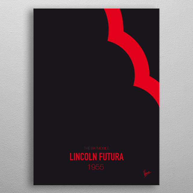 No006 My Batmobile minimal movie car poster — Lincoln Futura 1955 The Batmobile  metal poster