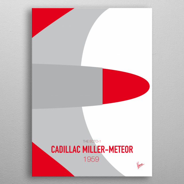 No015 My GHOSTBUSTERS minimal movie car poster — Cadillac Miller-Meteor 1959 The Ecto-1 metal poster