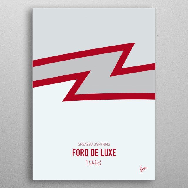 No022 My GREASE minimal movie car poster — Ford De Luxe 1948 Greased Lightning metal poster