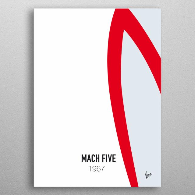 No008 My Speed Racer minimal movie car poster — Mach Five 5 1967 metal poster