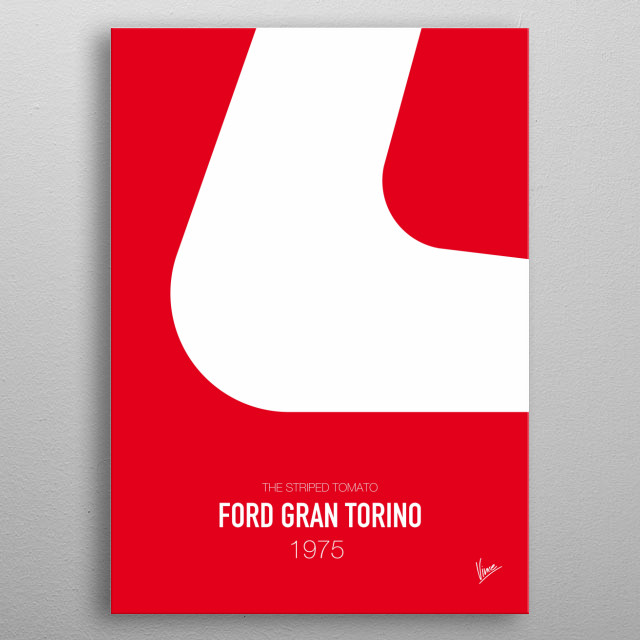 No003 My starsky and hutch minimal movie car poster — Ford Gran Torino 1975 The striped tomato metal poster