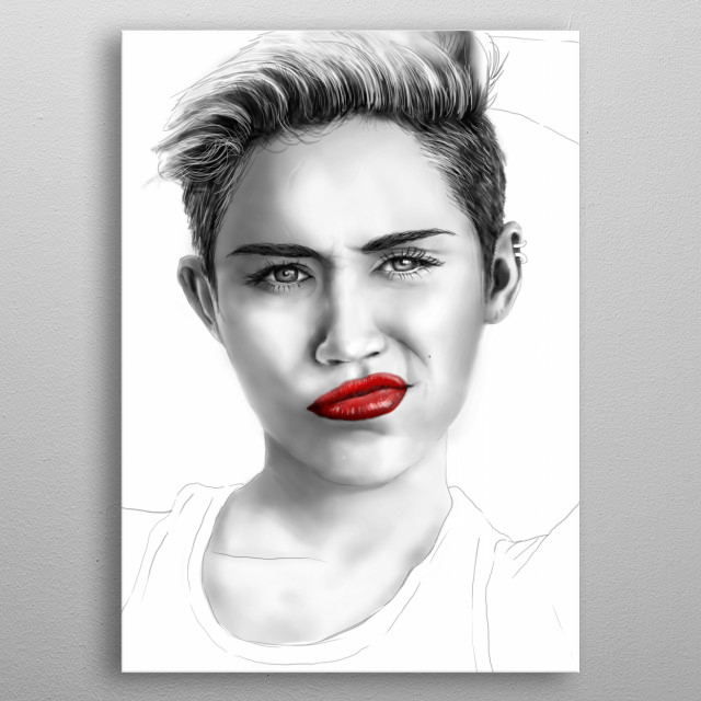 Miley Cyrus - Digital Portrait metal poster