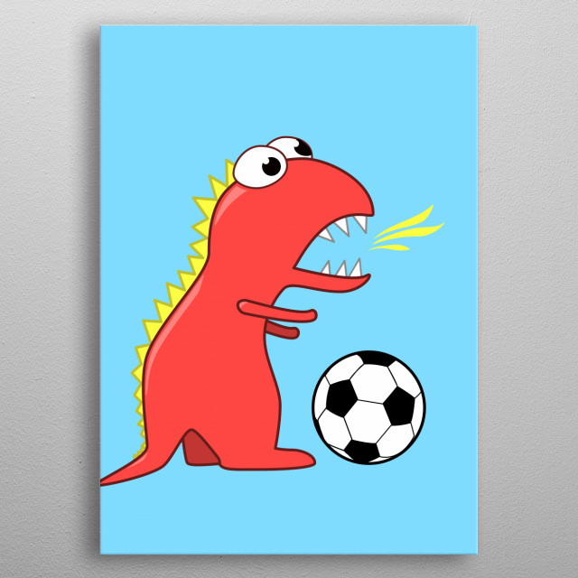 Fun illustration of a cartoon dinosaur (Tyrannosaurus Rex) with fire breath playing soccer on light blue background. metal poster