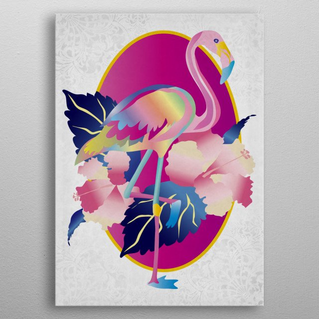Pretty Pink Flamingo Tropical Hibiscus Flowers - A pretty, colorful flamingo with one leg raised, dark blue eyes and pastel-toned wings. Tropical pink hibiscus flowers with dark blue leaves in the background, with fuchsia and yellow oval frame. Barely-there diagonal stripes across the illustration with ornate brocade corners. I had fun drawing this lovely bird! metal poster
