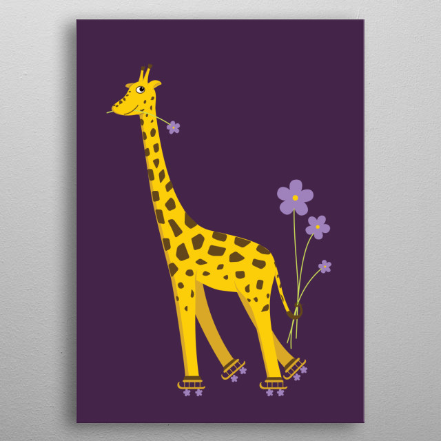 Cartoon giraffe nibbling on a light purple flower and holding some flowers with its tail while roller skating, on dark purple background. metal poster