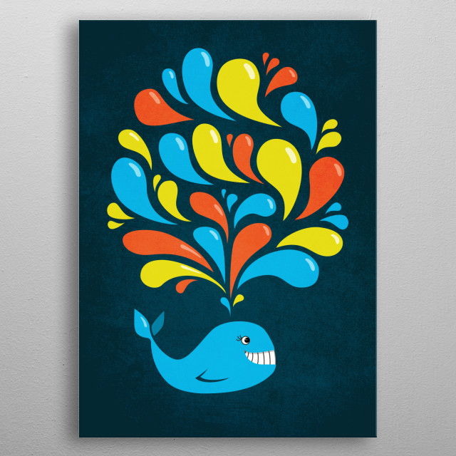 Fun and happy illustration of a cute smiling cartoon whale splashing bright blue, yellow and orange swirls over dark blue background. metal poster
