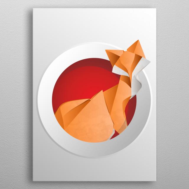 Oriental origami fox circle metal poster