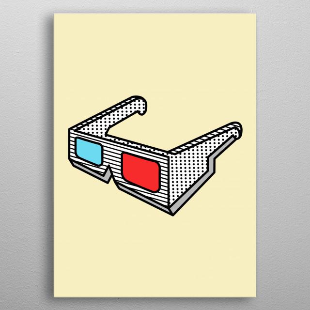 3d glasses metal poster