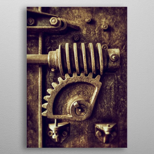 Industrial detail of an old heavy iron machine with sprockets metal poster