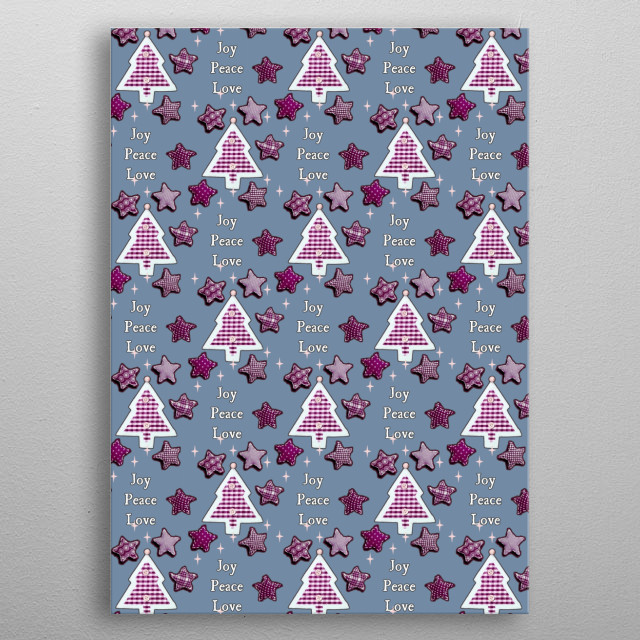 """Joy, Peace, Love! blue BY GASPONCEA little more """"grown-up"""" version of a Christmas tree wish pattern! metal poster"""