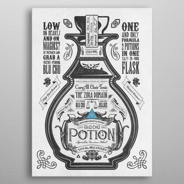 The Blue Potion third piece in my vintage Legend of Zelda inspired advertisements  metal poster