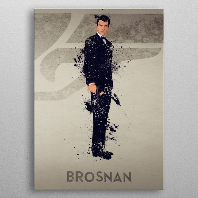 Brosnan – Bond actor's series 5/6. A combination of 6 prints to make one larger bond theme artwork, or leave as a separate piece. metal poster