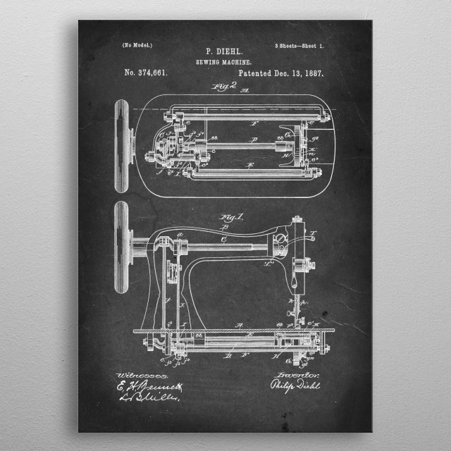 Sewing Machine - Patent #374,661 by P. Diehl - 1887 metal poster