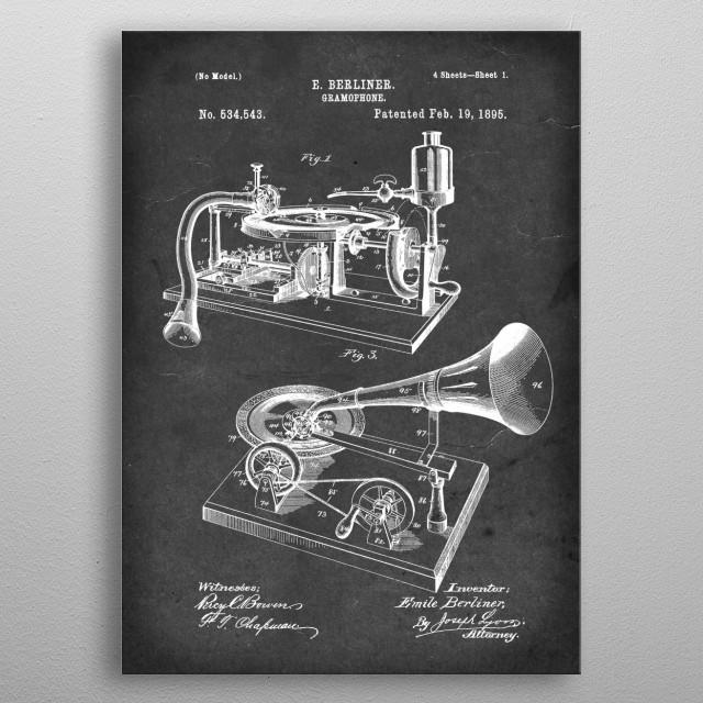 Gramophone - Patent #534,543 by E. Berliner - 1895 metal poster