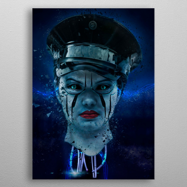 Combination of photography and 3d art using a model called Hannah. metal poster