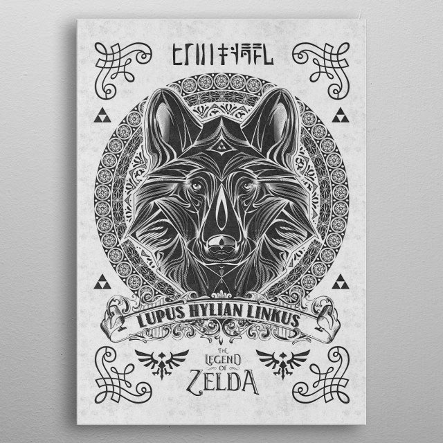 My vintage illustration of the wolf link done in a vintage woodcut linocut style mixed with Victorian accents inspired by Legend of Zelda gam... metal poster