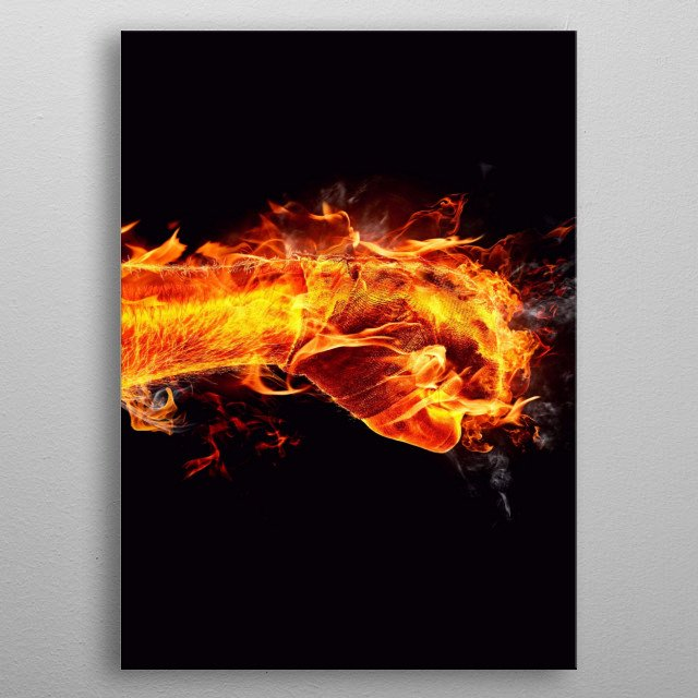 Fist in red fire shooting on right side. Could be added to the blue one metal poster
