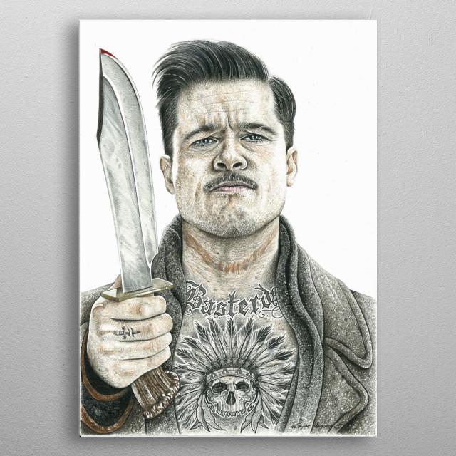Aldo Raine inked metal poster