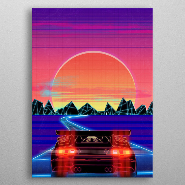 One Man, one mission, to cruise through the night on the electric highway. Where will he go? Only the road knows. metal poster